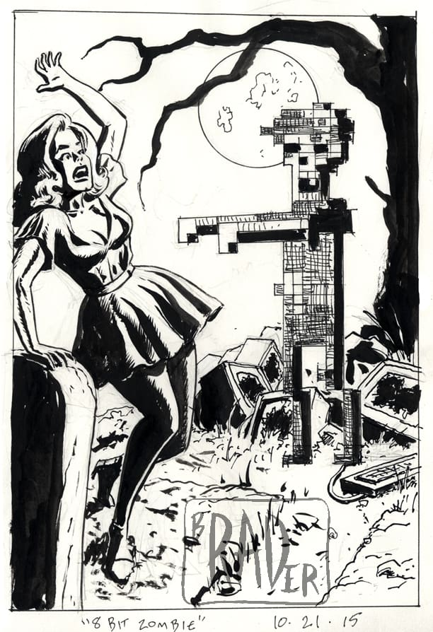 8 Bit Zombie by Brad Rader, humorous pen and ink drawing of beautiful woman in graveyard who screams while approached by pixelated zombie rising from broken computer monitors
