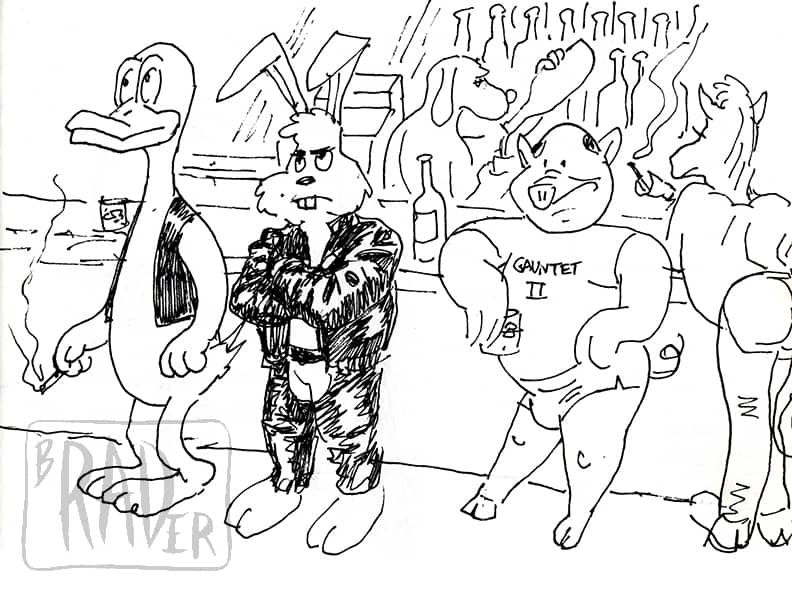 Another Saturday Night pen and ink drawing of generic funny animal cartoon characters in a gay bar