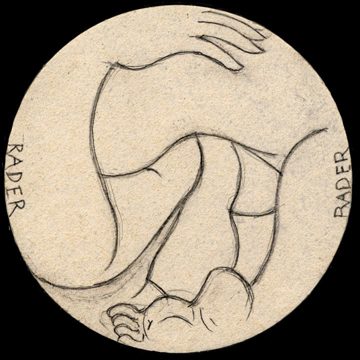 Drawing on brown paper by Brad Rader of roundel with nude forms, gay erotica