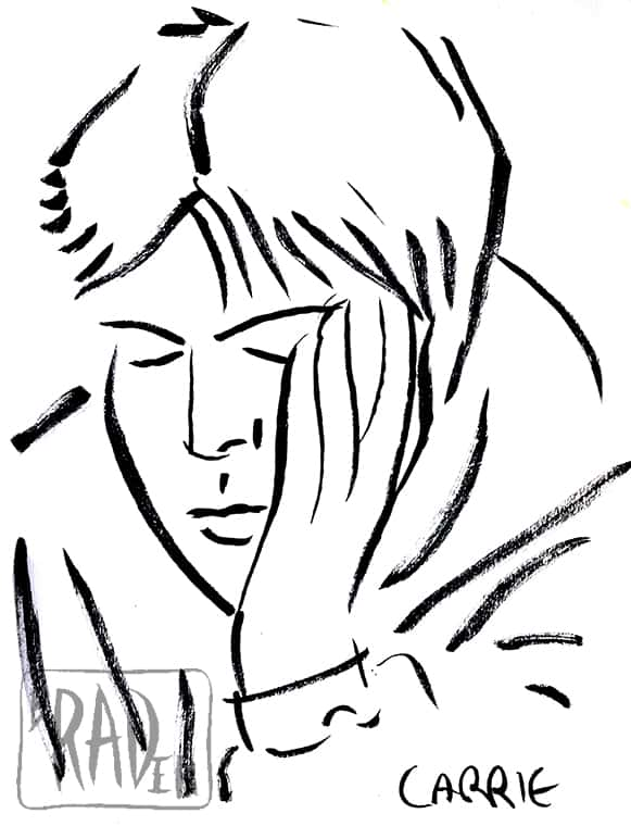 Carrie 2, Crescent Lake 1992, Ink portrait by Brad Rader