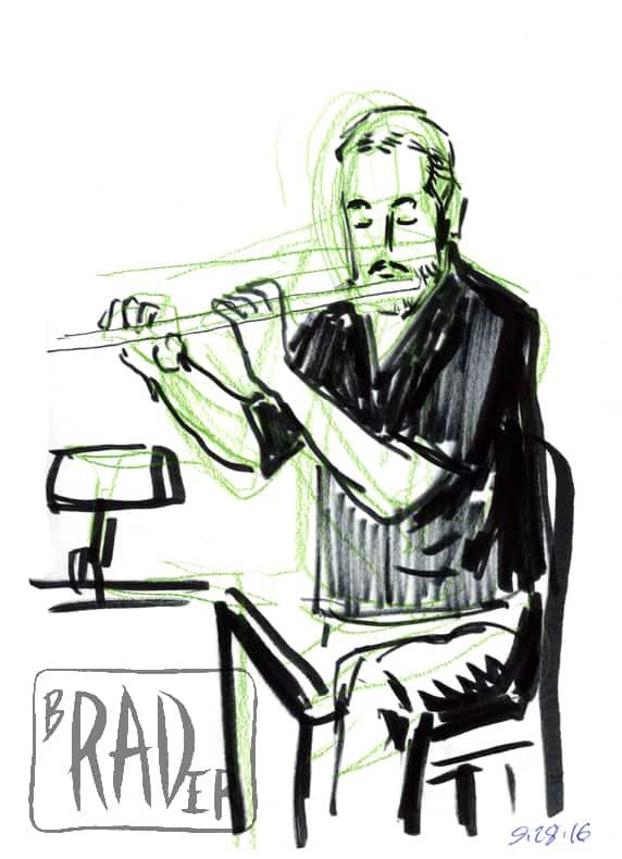Felt-tip pen, ink and crayon portrait of flutist Dan Heffernan by Brad Rader