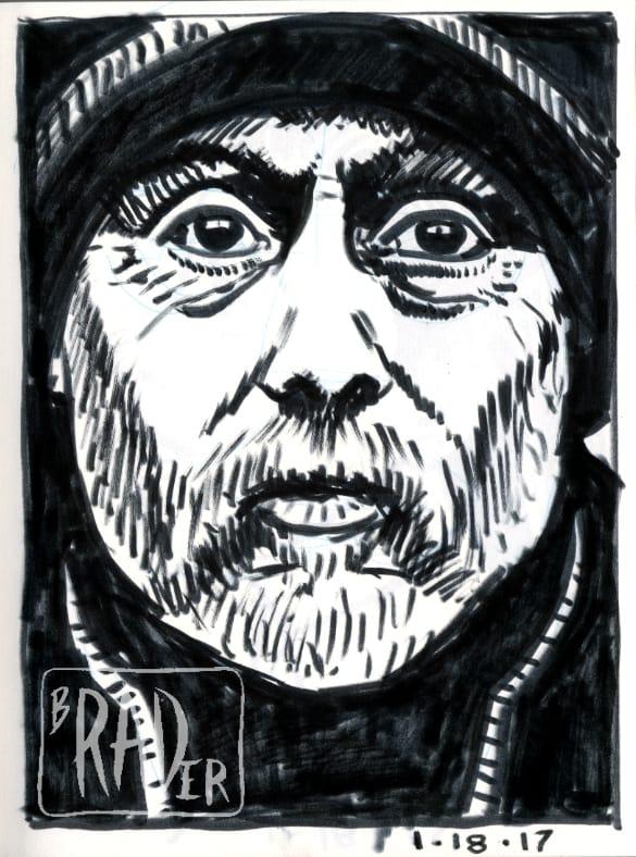 Day Laborer, felt-tip pen portrait by Brad Rader