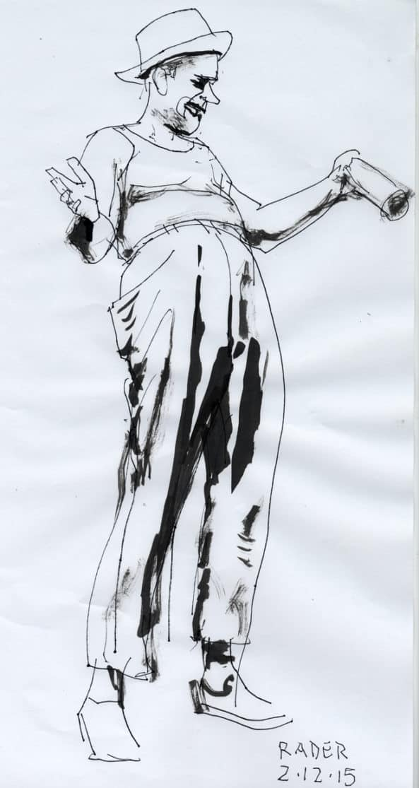 Draped Figure, drawing from life by Brad Rader