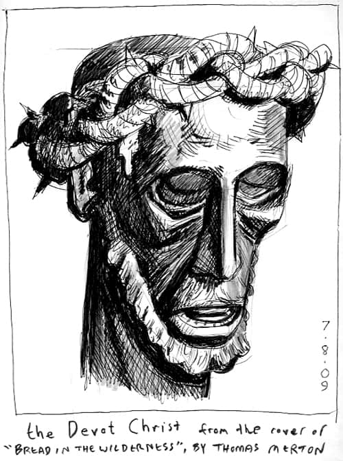 The Devot Christ in Perpignon, France from the cover of <em>Bread in the Wilderness</em> by Thomas Merton pen and ink illustration of head of sculpture with beard and crown of thorns