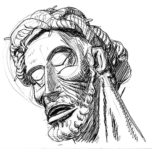 "Encino '89 - The Devot Christ in Perpignon, France - pen and ink illustration of sculpted head of Jesus ""Le Devot Christ"" in Perpignon, France, with beard and crown of thorns"