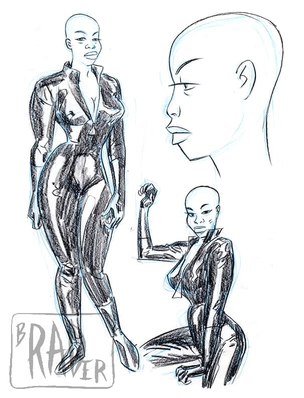 Female Spy, pencil drawing by Brad Rader of Black woman with shaved head in vinyl or leather outfit, erotica