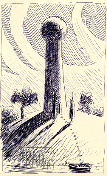 Fortress 1 pen and ink illustration by Brad Rader, futuristic water tower