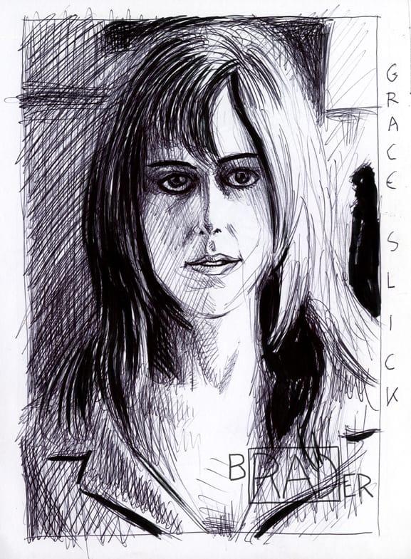 Pen and ink portrait of Grace Slick by Brad Rader