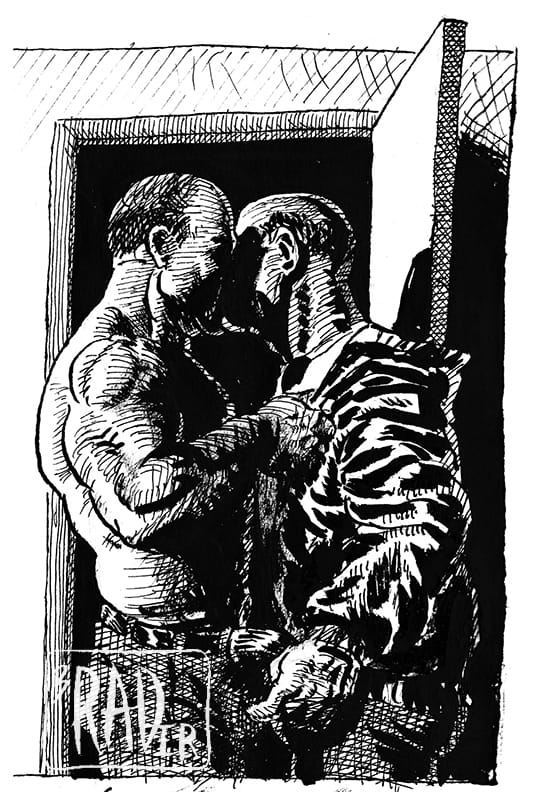 H&DT, ink drawing by Brad Rader of Harry and Dickless Tom from Rader's graphic novel published by Flaming Artist Press, gay erotica, bears
