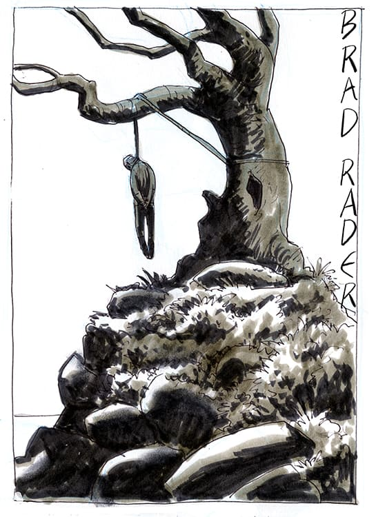Hanging Tree ink and wash illustration by Brad Rader of lynching