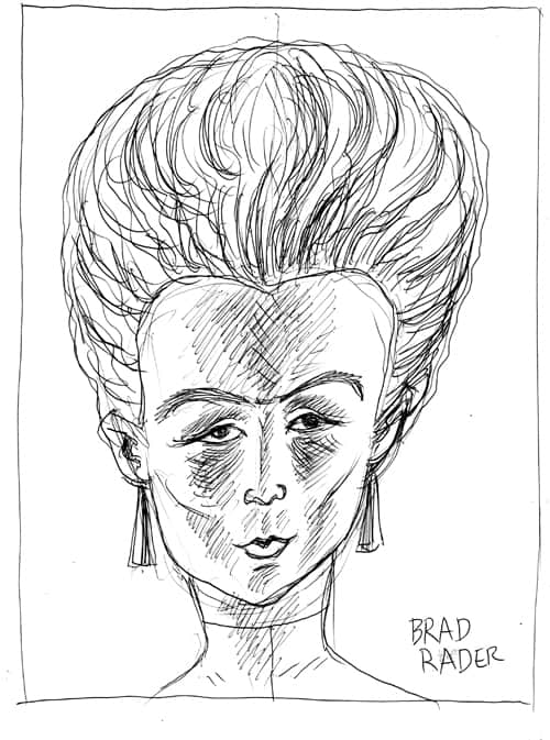 Head of the Day pen and ink illustration by Brad Rader, head of woman with Marie Antoinette hair style