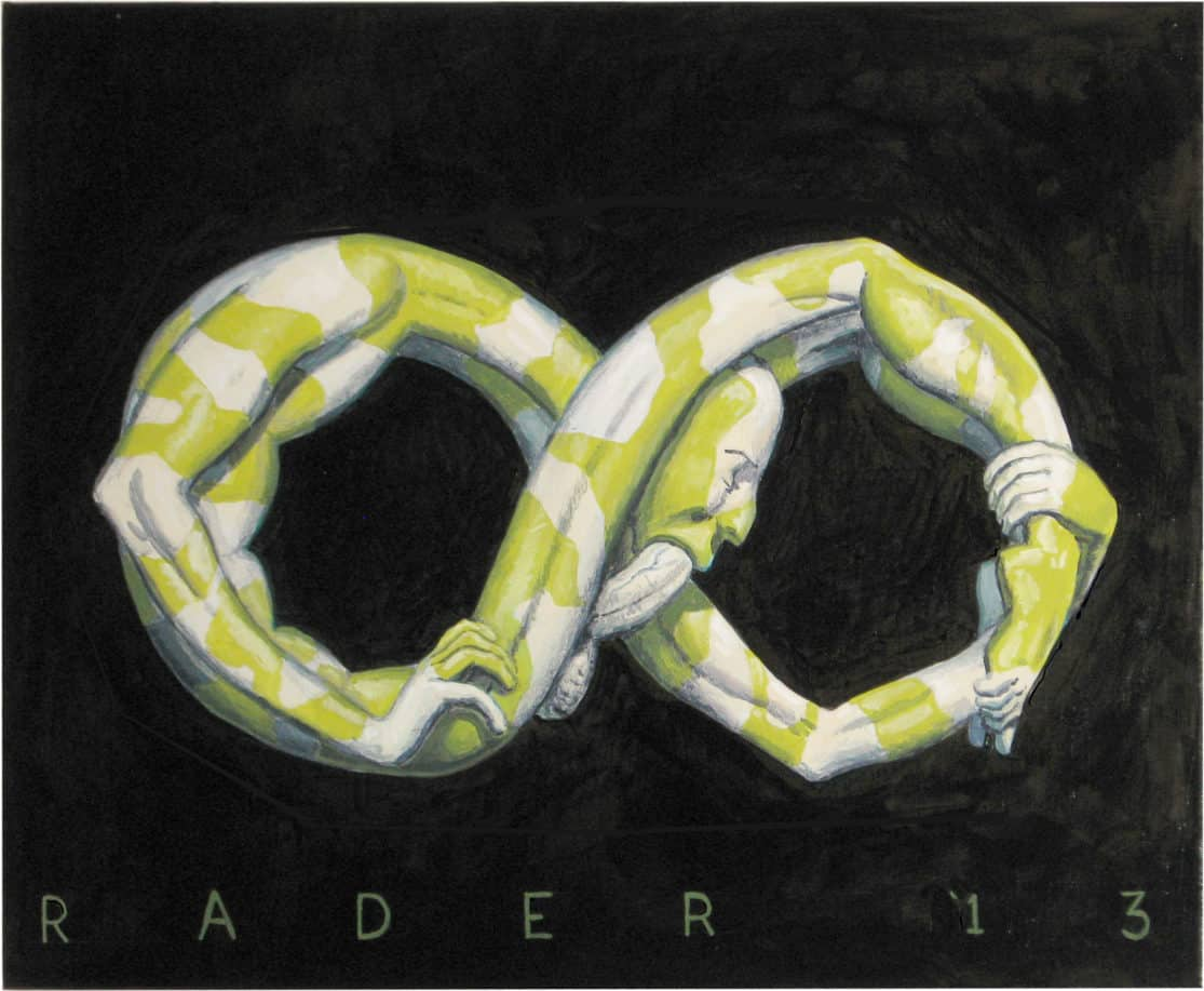 Horuborus painted illustration by Brad Rader of ourboros snake, infinity sign, autofellatio