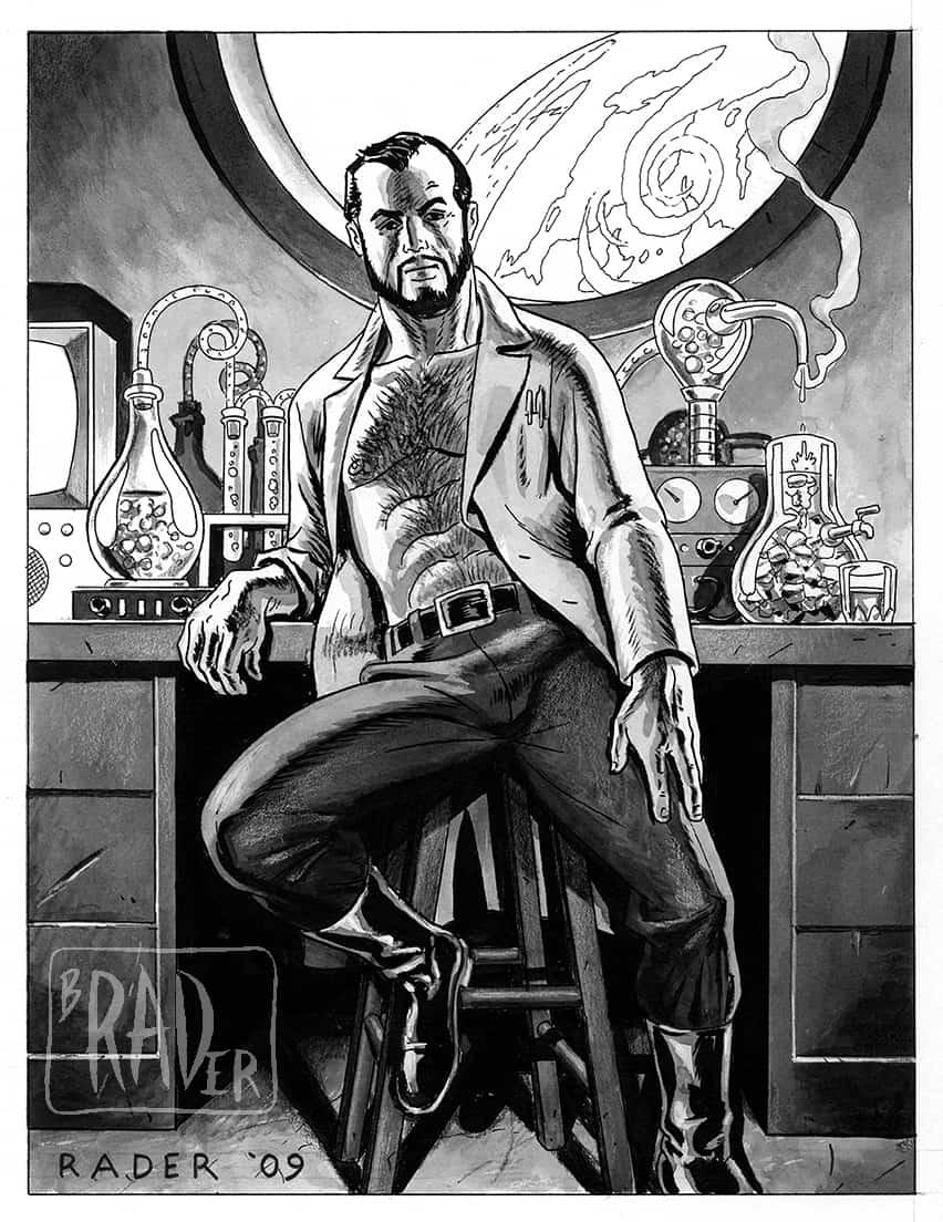 Hot Scientist, illustration by Brad Rader, gay erotica, bears