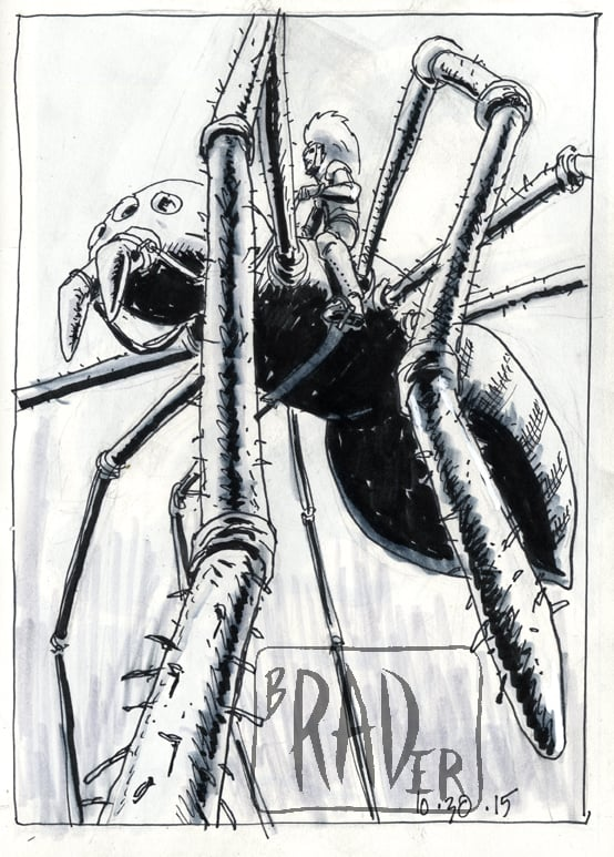Intober 30 ink and wash illustration  by Brad Rader of warrior riding giant spider