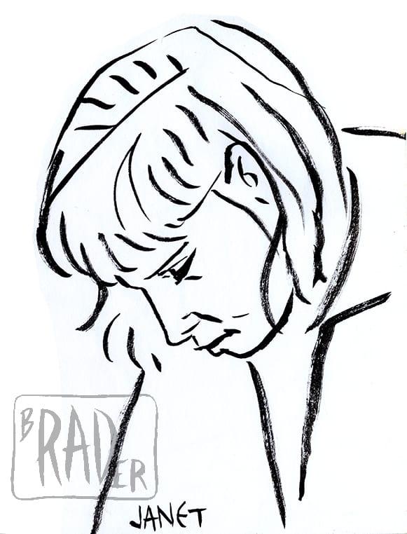 Janet, ink portrait by Brad Rader