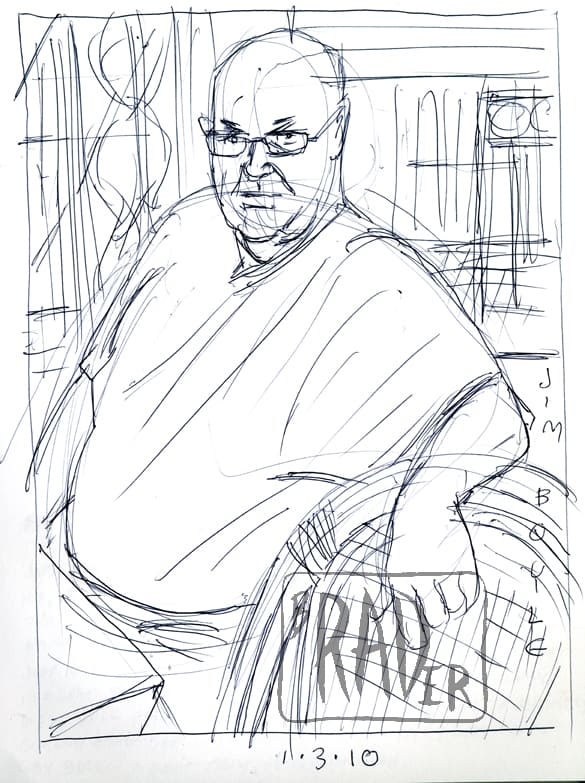 Pen and ink portrait of Jim Boyle by Brad Rader