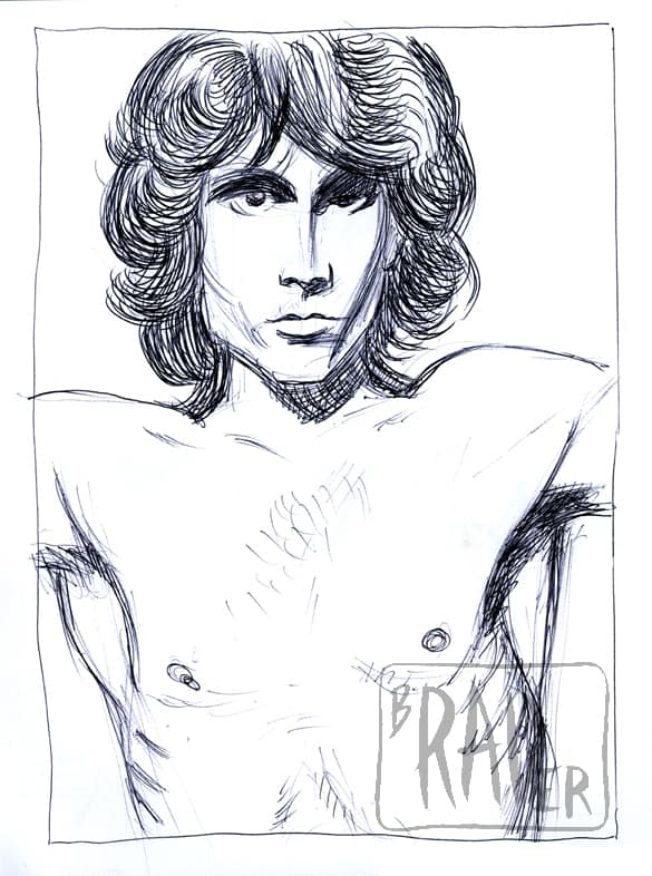 Pencil portrait of Jim Morrison by Brad Rader, gay erotica