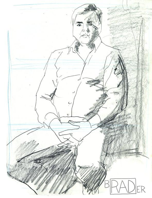Pencil portrait of John Callahan by Brad Rader