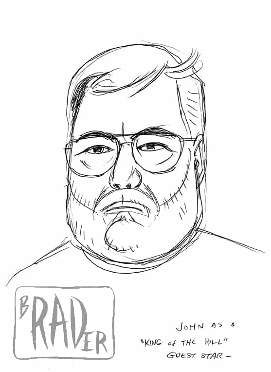 Pen and ink portrait of John Callahan in the style of the King of the Hill animated television program