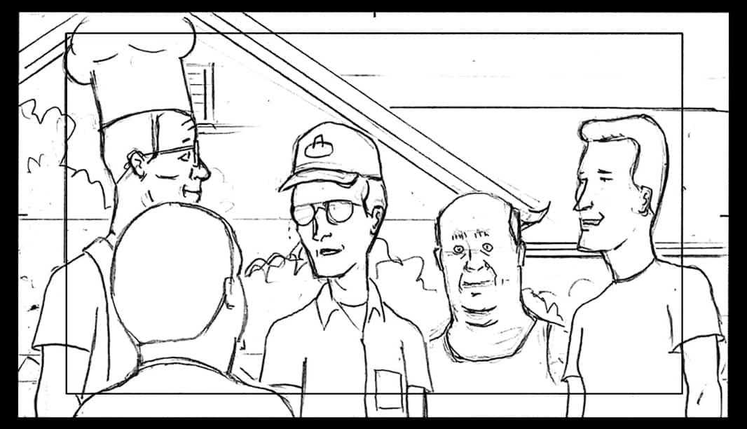 King of the Hill, Hank Hill, Bobby Hill, Dale Gribble, Bill Dauterive, Boomhauer, Animation Story Boards, Fox TV Animation