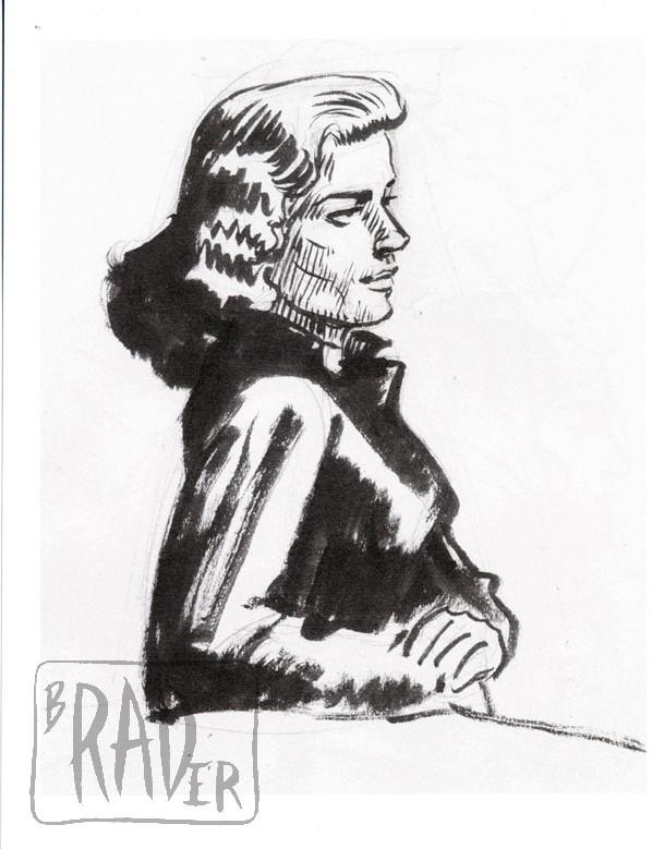 Ink portrait of Lauren Bacall by Brad Rader