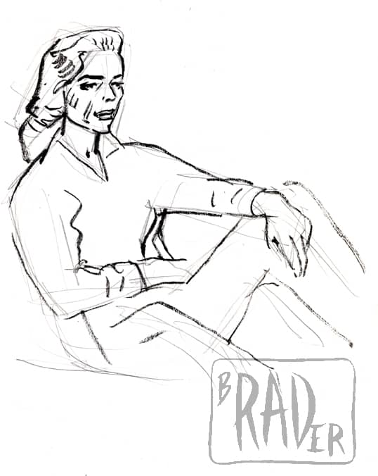 Crayon portrait of Lauren Bacall by Brad Rader