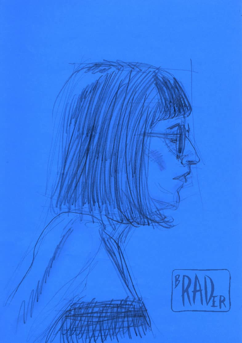 Drawing from life by Brad Rader, woman in bangs