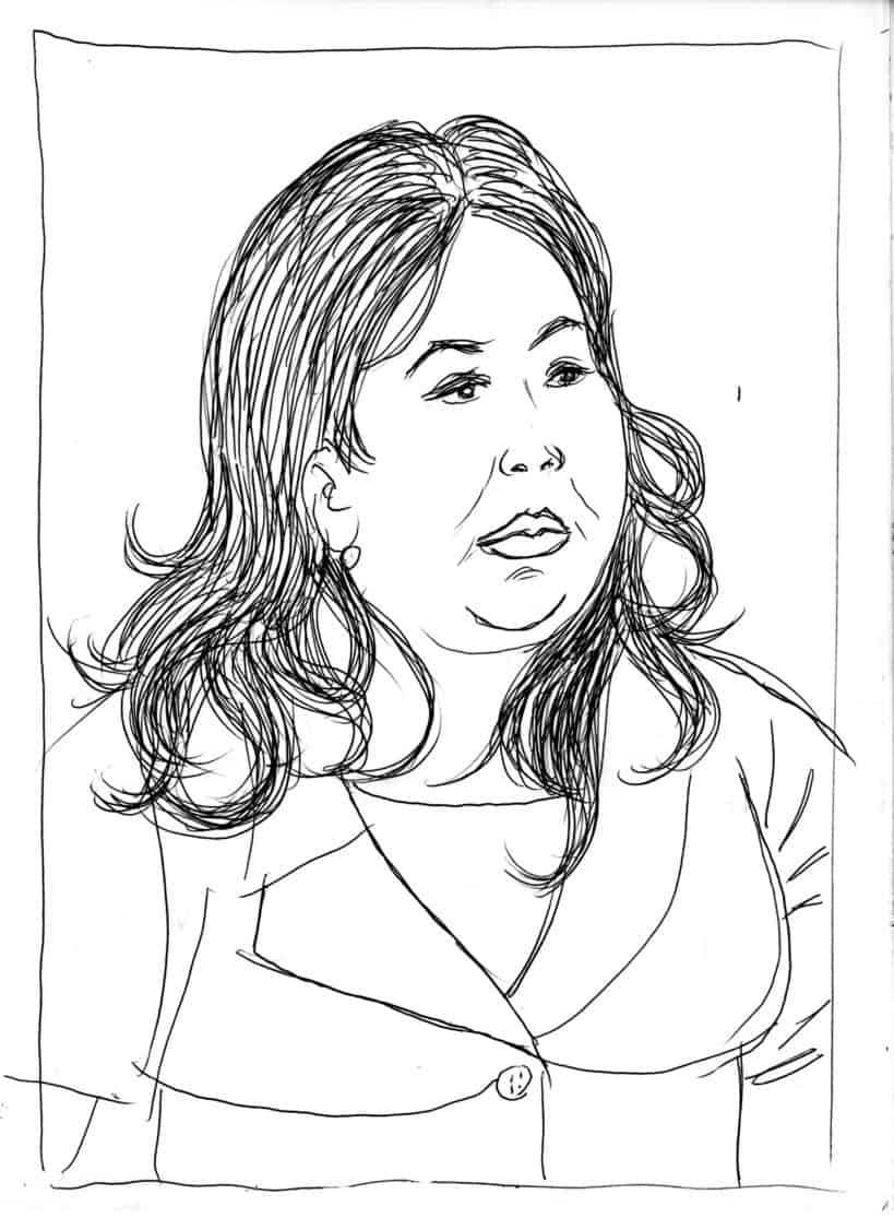 Pen and ink portrait by Brad Rader of Lorena Fiores