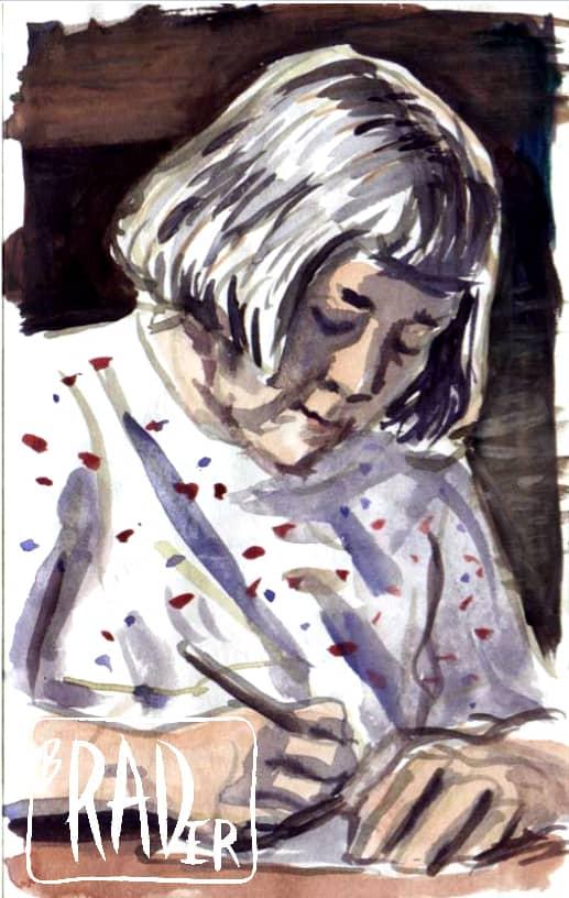 Watercolor portrait of Maxine Rader