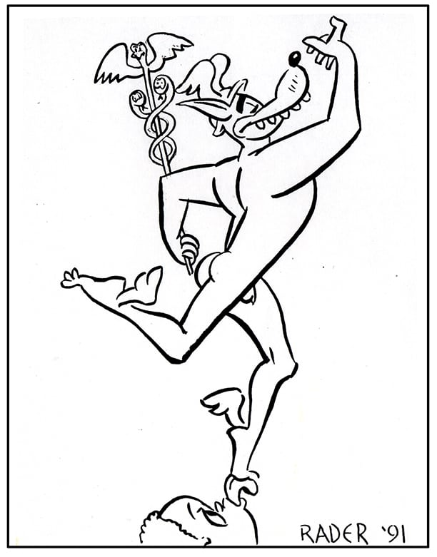 Mercury Wolf, satiric illustration by Brad Rader of winged Mercury with aesulapius with head of anthropomorphic funny animal character reminiscent of Disney's Goofy or Big Bad Wolf, gay erotica