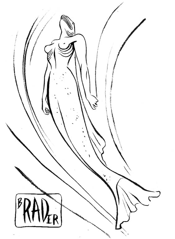 Mermaid satirical pen and ink illustration  by Brad Rader of swimming mermaid with fish's head
