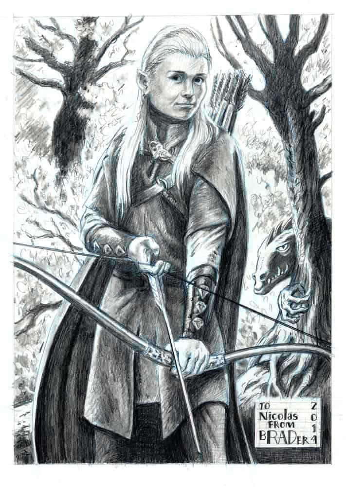 Nick, version 9 graphite illustration by Brad Rader of blond elf with long hair and bow