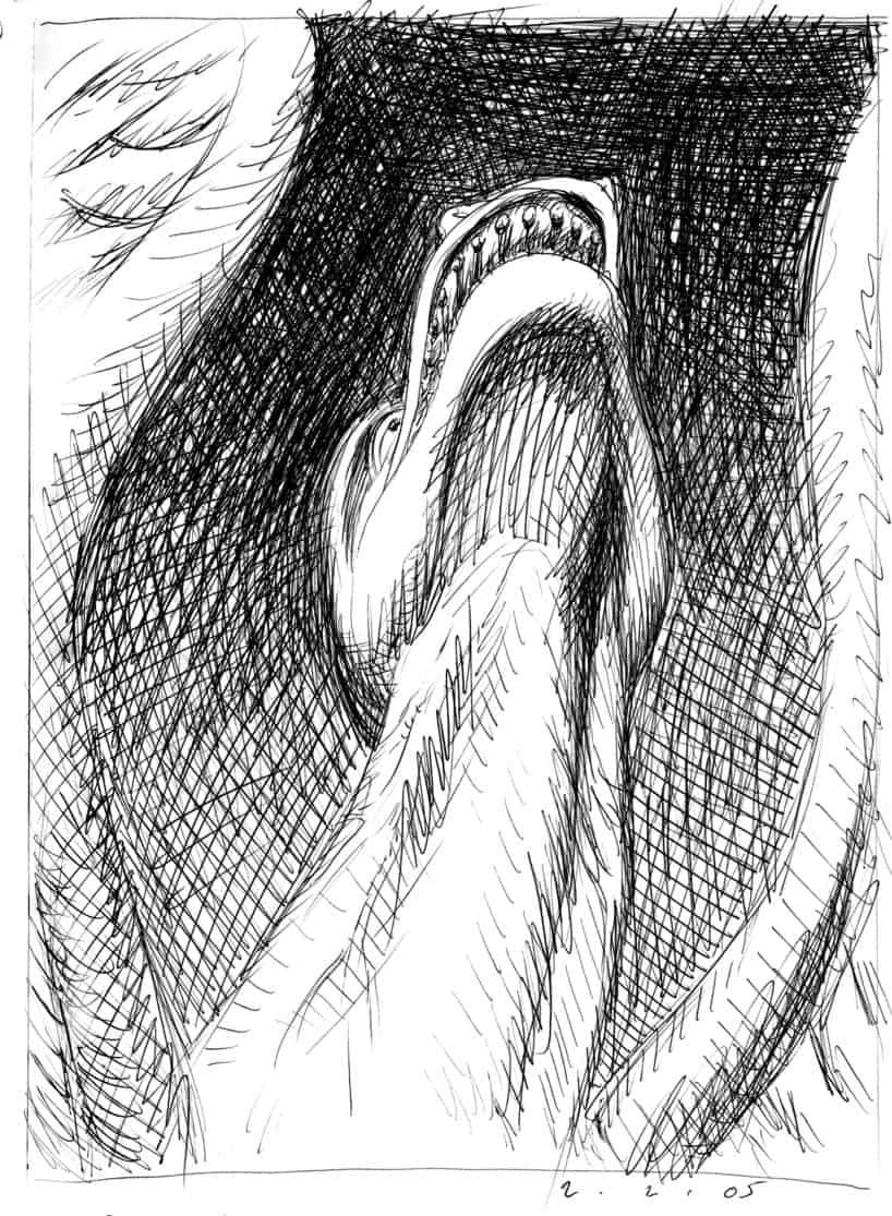 Notre Dame Gargoyle pen and ink illustration by Brad Rader
