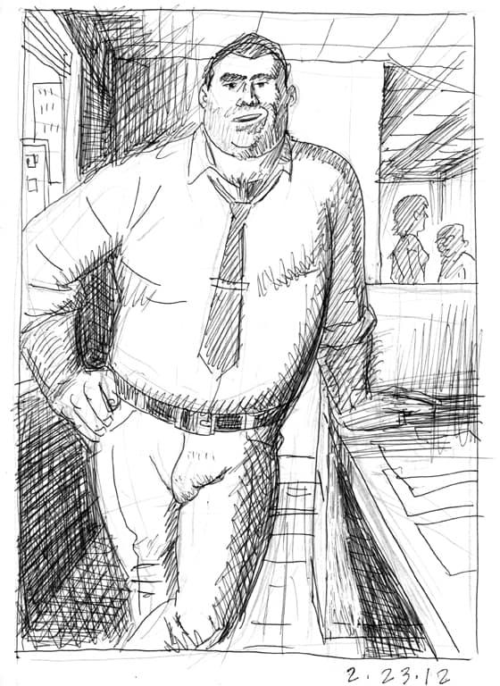 Office Eye Candy, sketch by Brad Rader, gay erotica, bears