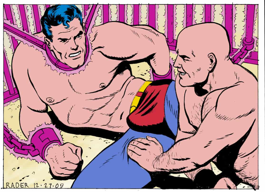 Pink Kryptonite by Brad Rader, colored illustration featuring DC's Superman and Lex Luthor, gay erotica