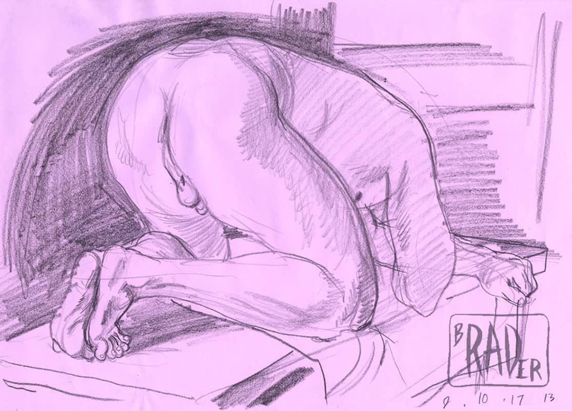 Pencil sketch by Brad Rader of kneeling nude, gay erotica, figure study