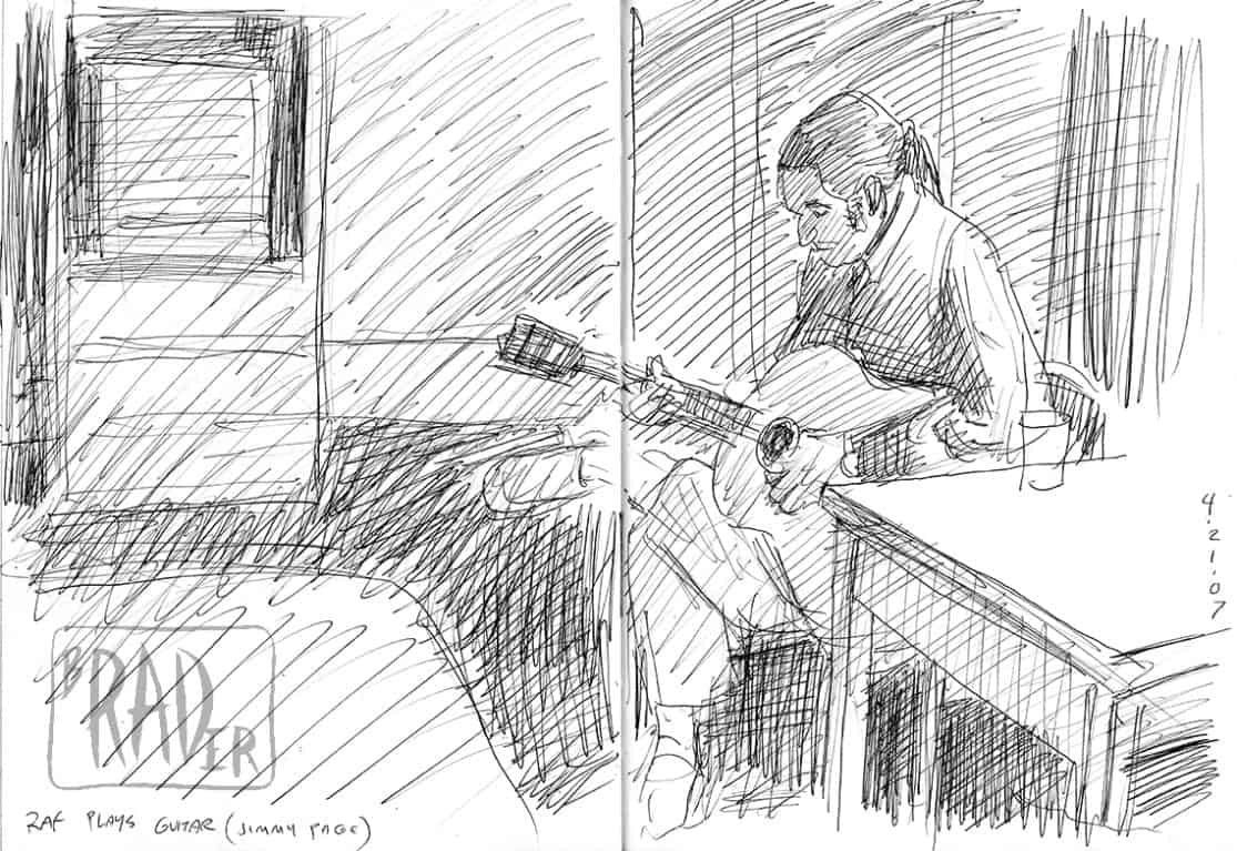 Pen and ink portrait of Raf Navarro playing guitar at APECon 2007 by Brad Rader