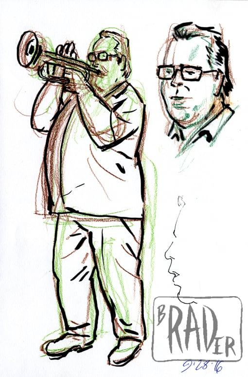 Crayon portrait of jazz trumpeter Rex Merriweather