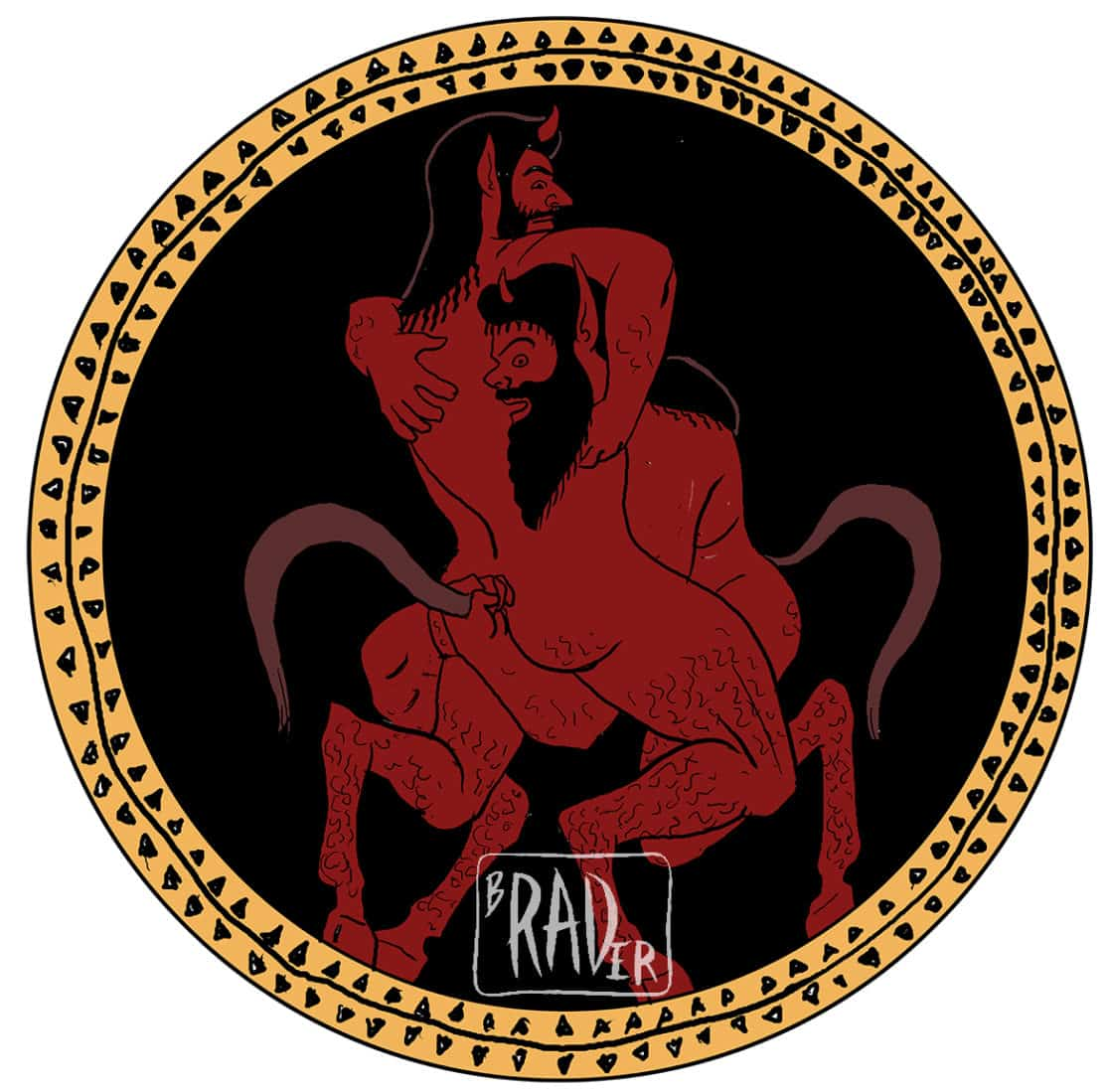 Richard's Satyr, painted image of wrestling satyrs in style of Greek red-figure pottery, gay erotica, bears