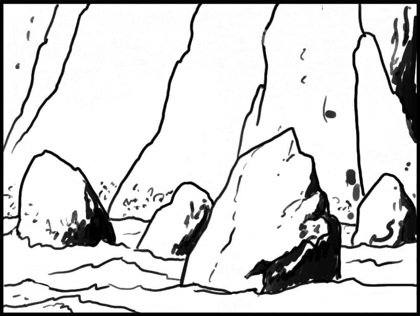 EXT. IRISH COASTLINE — NIGHT  Angle on base of cliff