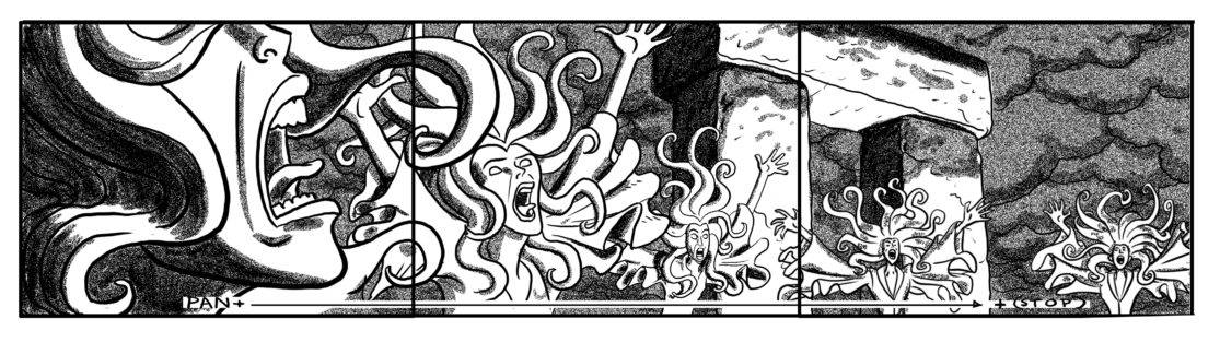 C.U. on howling Banshee. Pan across other banshees, animating hair, cloaks (under their own Banshee power)  (SFX: Increase volume/intensity of BANSHEE WAILS)