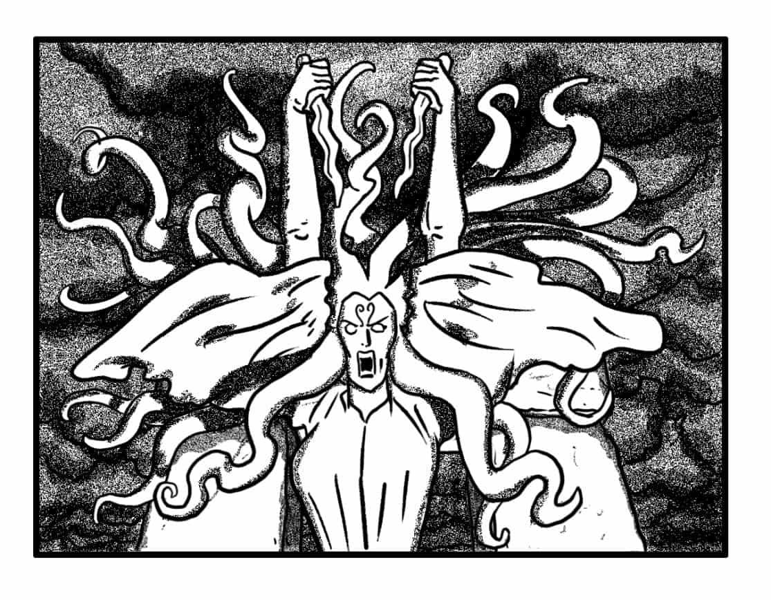 Suddenly, Maab raises daggers overhead, anticking death blows. (SFX/CONT): (BANSHEE WAILS)