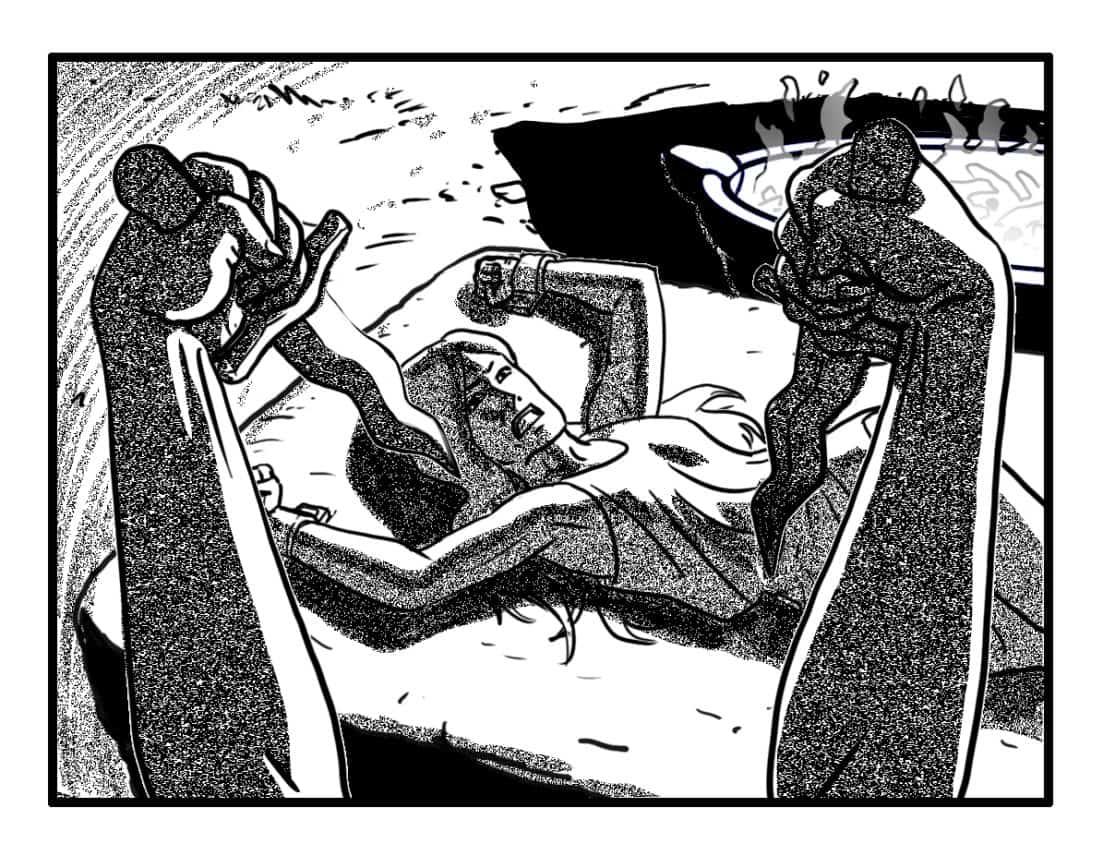 Downshot of Sh'lainn, OTS Maab's dagger wielding hands.  (SFX/CONT): (BANSHEE WAILS)