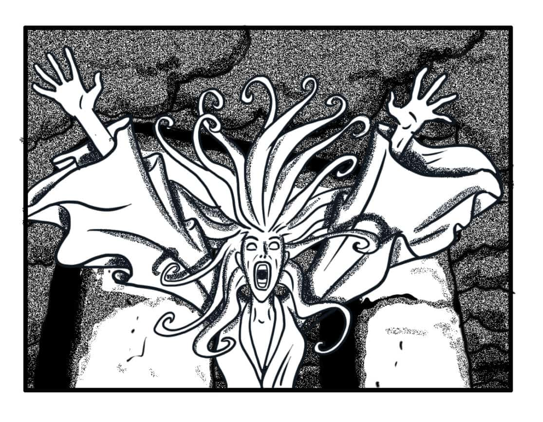 Banshee #1 finishes continuously animating away from camera, throws her arms wide. Continuously animate her hair and clothes; they are being moved by her Banshee powers, not the wind.