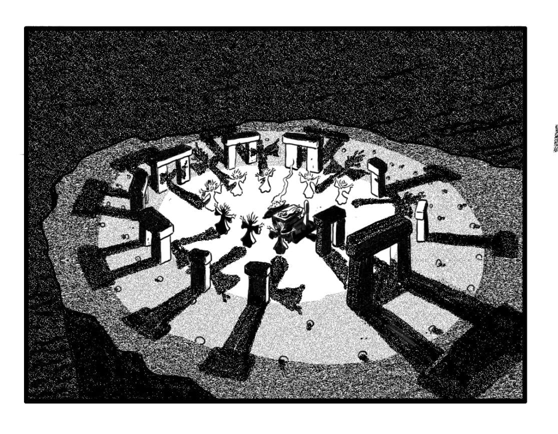 Down shot on Circle of standing stones. Banshees and Queen  Maab form circle around Sh'lainn, who is chained to a stone altar. (Note: All banshees are hovering about 2 inches off the ground.)