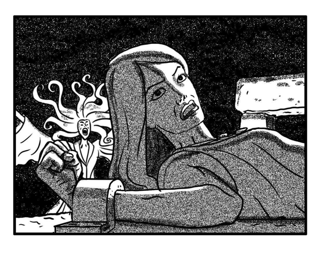 C.U. on Sh'lainn, looking up at o.s. Maab. Animate hair/cloak on Banshee #3 in BG (SFX/CONT): (BANSHEE WAILS)