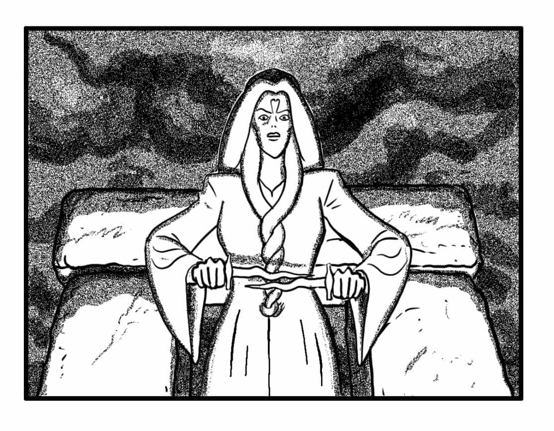 Maab spreads her arms, pulling twin daggers out of her sleeves… (SFX/CONT): (BANSHEE WAILS)