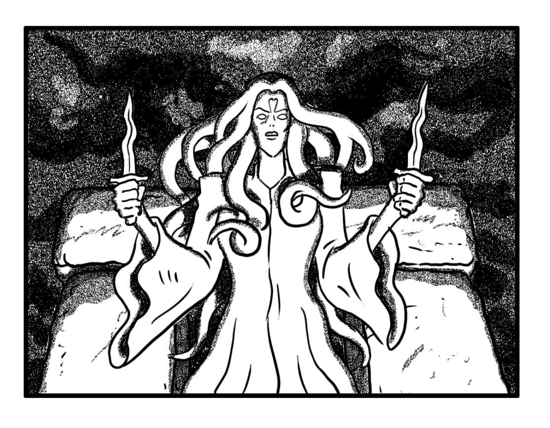 …holds them  upright. Her hair & cloak begin to animate with banshee power; her eyes start to glow... (SFX/CONT): (BANSHEE WAILS)