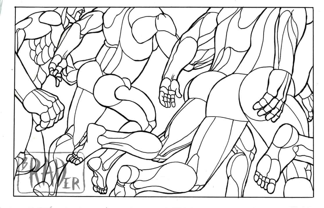 Running Robots, stylized coloring-book style drawing of nude runners, gay erotica