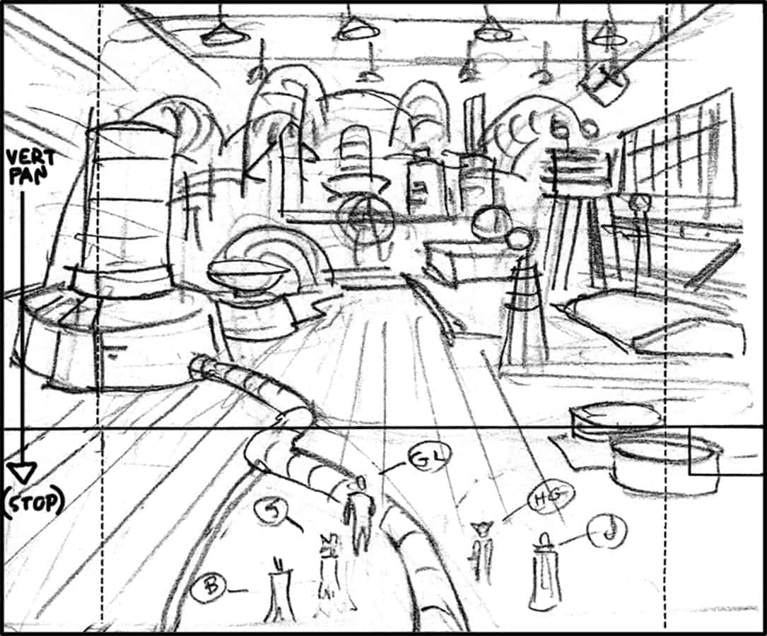 Storyboard by Brad Rader for television series Static Shock, episode A League of Their Own
